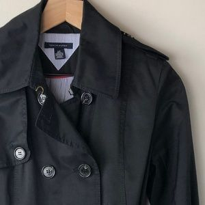 Tommy Hilfiger Black Trench coat women's Small